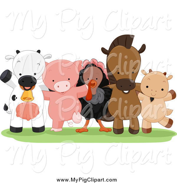 Swine Clipart of Happy Farm Animals Standing Together