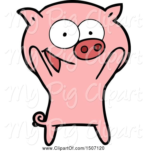 Swine Clipart of Happy Pig