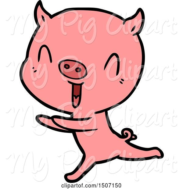 Swine Clipart of Happy Pig Running