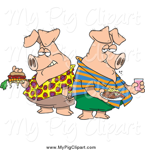 Swine Clipart of Hogs Pigging out