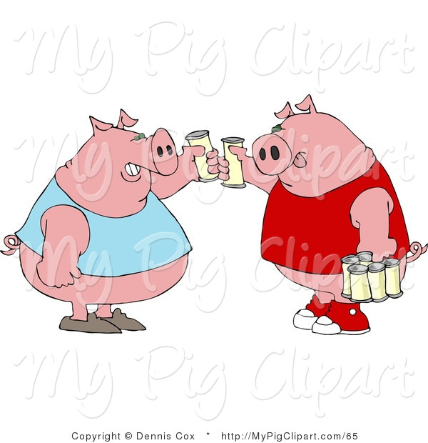 : Swine Clipart of Human-like Fat Pigs in Tank Tops Toasting Beers Against Each Other