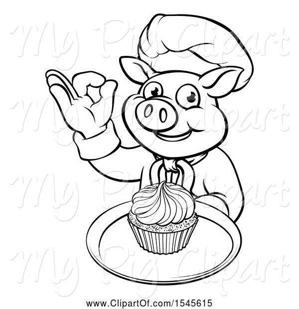 Swine Clipart of Lineart Chef Pig Holding a Cupcake on a Tray and Gesturing Okay