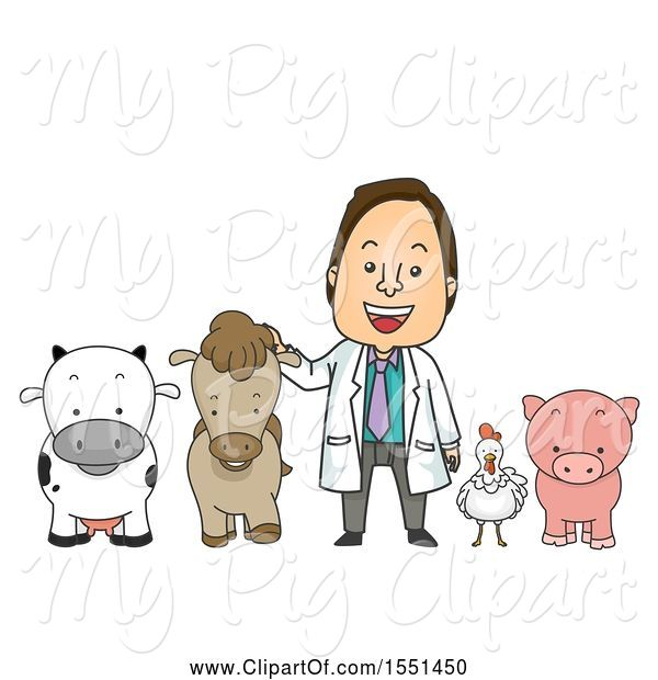 Swine Clipart of Male Livestock Veterinarian with a Cow, Horse, Chicken and Pig
