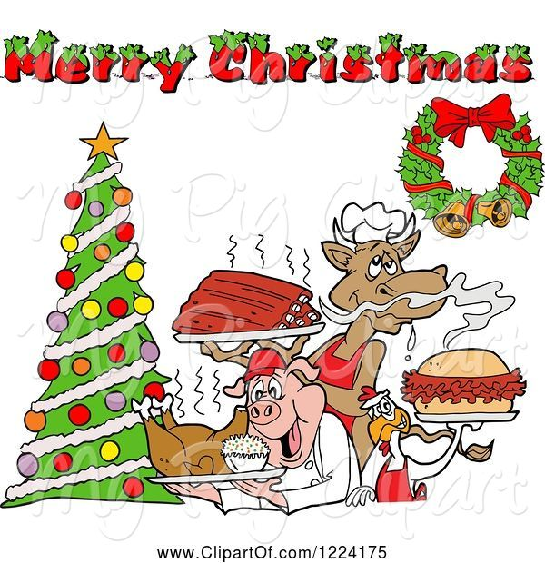Swine Clipart of Merry Christmas Greeting over a Cow Holding Ribs, Chicken Carrying a Pulled Pork Sandwich and Pig Carrying a Roasted Chicken