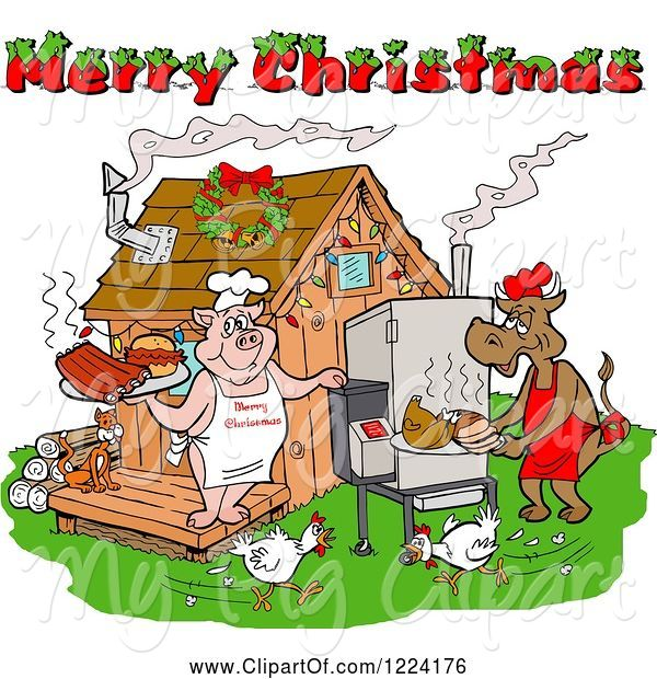 Swine Clipart of Merry Christmas Greeting over Chickens a Cow and Pig Using a Smoker at a Bbq Shack