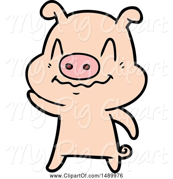 Swine Clipart of Nervous Pig