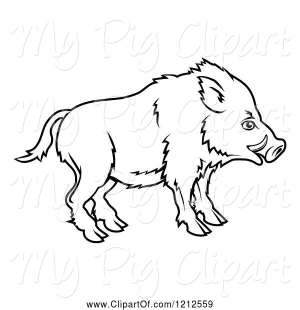 Swine Clipart of Outlined Chinese Zodiac Boar in Profile
