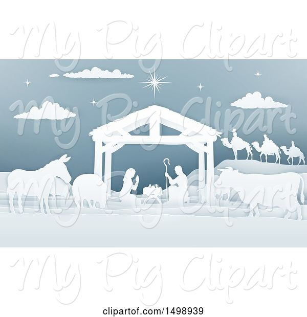 Swine Clipart of Paper Art Styled Nativity Scene with the Wise Men, Animals and Manger