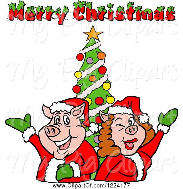 Swine Clipart of Pig Couple by a Christmas Tree with Merry Christmas Text