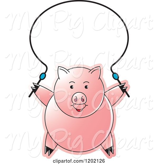 Swine Clipart of Pig Exercising with a Jump Rope