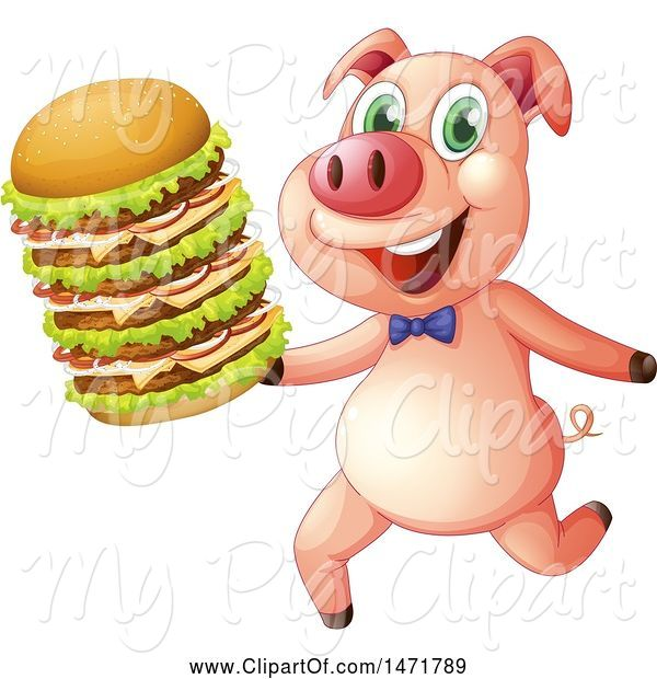 Swine Clipart of Pig Running with a Giant Cheeseburger