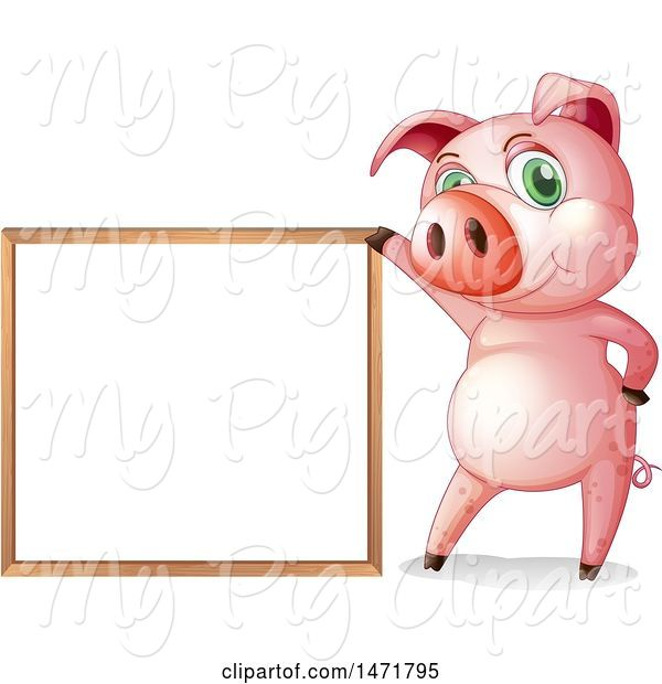 Swine Clipart of Pig with a White Board