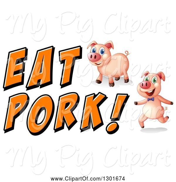 Swine Clipart of Pigs with Eat Pork Text