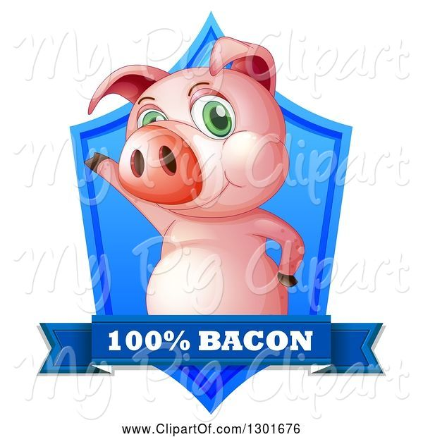 Swine Clipart of Presenting Pink Pig in a Blue Shield with a Bacon Banner