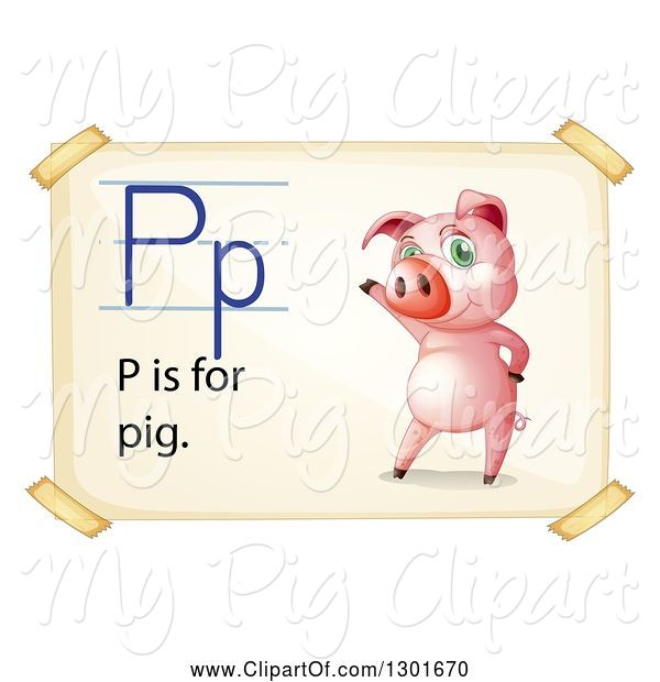 Swine Clipart of Presenting Pink Pig on an Alphabet Letter P Is for Pig Page