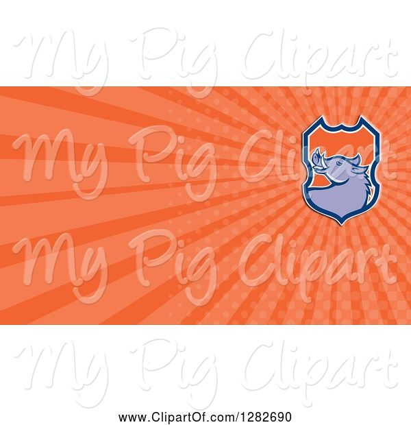 Swine Clipart of Retro Boar Head Shield and Orange Rays Background or Business Card Design