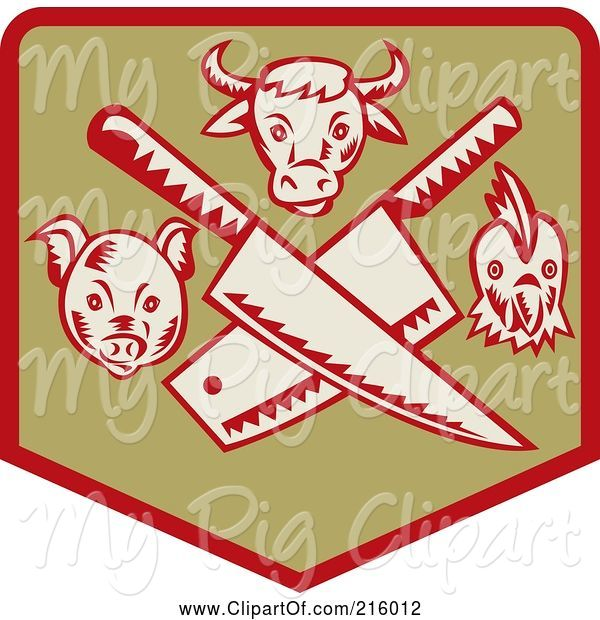 Swine Clipart of Retro Butcher Sigh with Knives, a Pig, Bull and Chicken