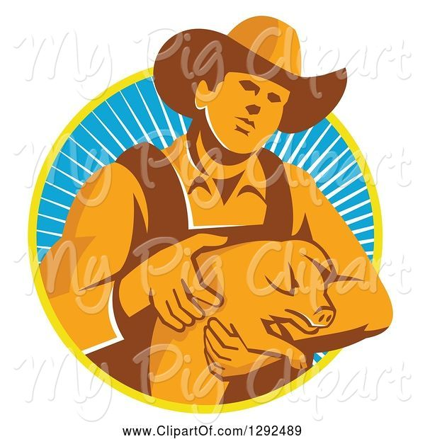 Swine Clipart of Retro Male Farmer Holding a Piglet in a Yellow White and Blue Circle of Rays