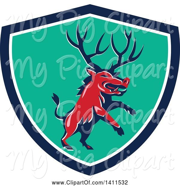 Swine Clipart of Retro Rearing Razorback Boar Pig Beast with Antlers in a Blue White and Turquoise Shield