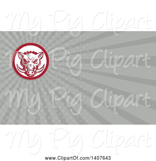 Swine Clipart of Retro Wild Boar Head and Gray Rays Background or Business Card Design