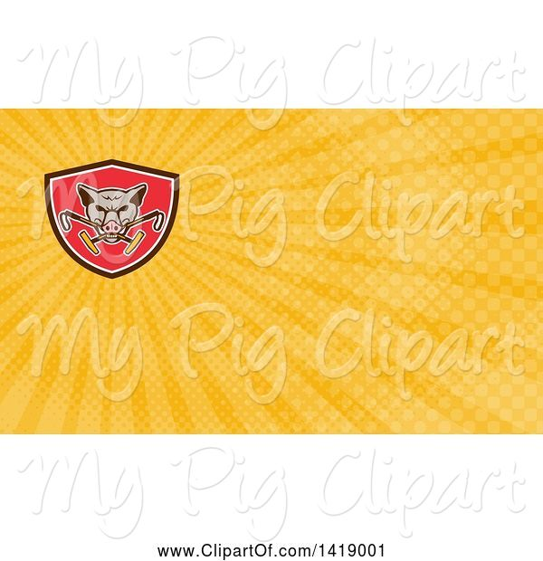 Swine Clipart of Retro Wild Hog Boar Head Biting Crossed Polo Mallets and Rays Background or Business Card Design