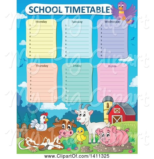 Swine Clipart of School Timetable with Farm Animals