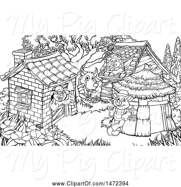 Swine Clipart of Scne of the Wolf and the Three Pigs in Their Brick, Wood and Straw Houses, Black and White