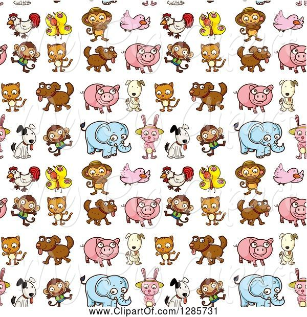 Swine Clipart of Seamless Background Pattern of Butterflies, Chickens, Monkeys, Birds, Dogs, Cats, Pigs, Rabbits and Elephants