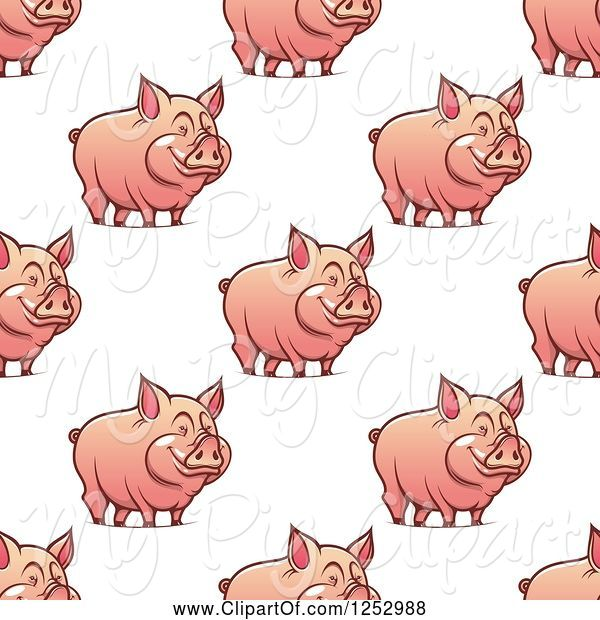 Swine Clipart of Seamless Background Pattern of Pigs