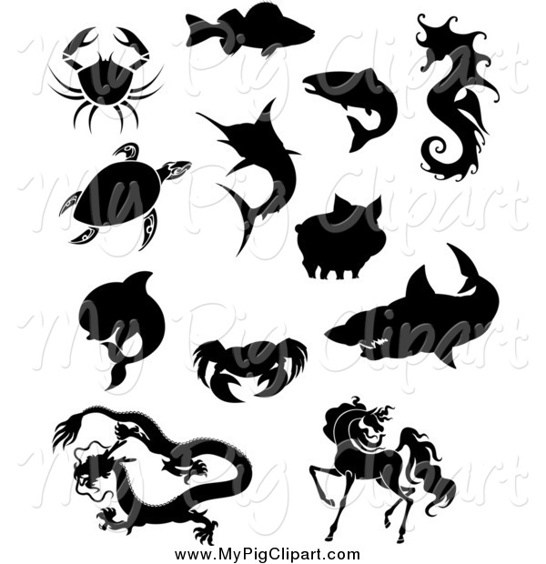 Swine Clipart of Silhouetted Crabs Fish Sea Turtle Dolphin Chinese Dragon Horse Shark Pig and Seahorse