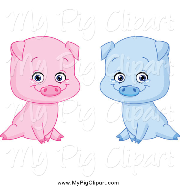 Swine Clipart of Sitting Blue and Pink Boy and Girl Pigs