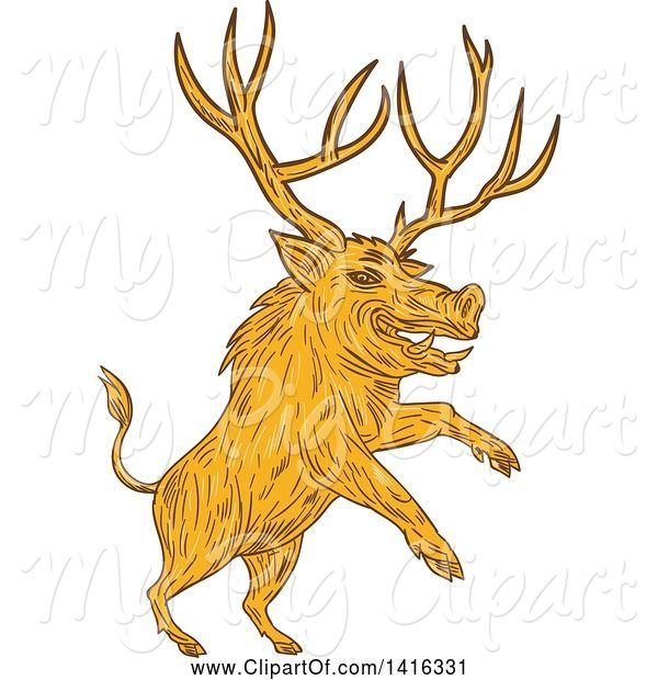 Swine Clipart of Sketched Rearing Razorback Boar Pig Beast with Antlers