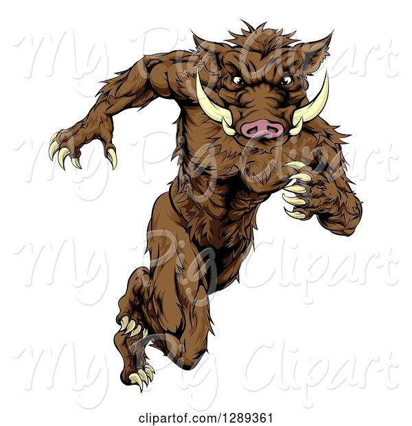 Swine Clipart of Sprinting Muscular Boar Guy