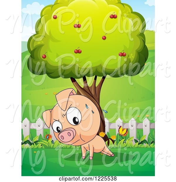 Swine Clipart of Sweating Pig Doing Push Ups by a Tree