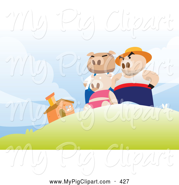 Swine Clipart of the Three Little Pigs Standing Victoriously on a Hill near Their Brick Home