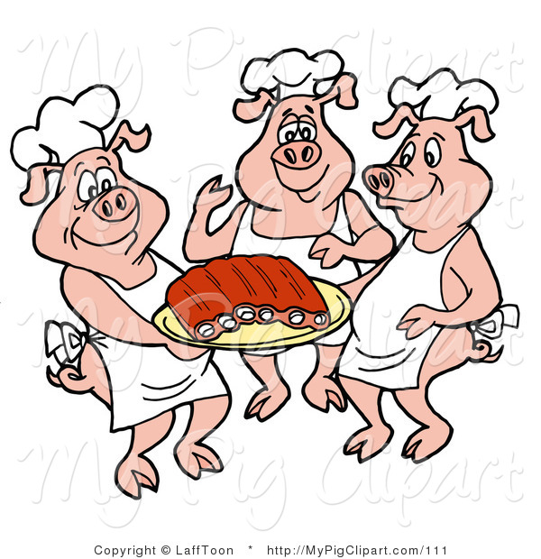 Swine Clipart of Three Chef Pigs in White Hats and Aprons, Carrying a Platter of Pork Ribs