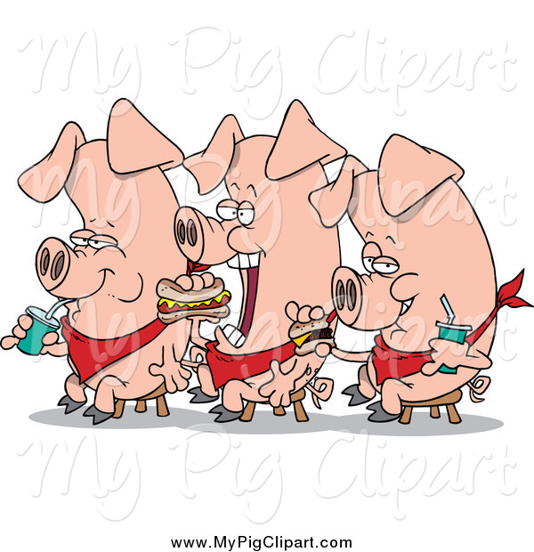 Swine Clipart of Three Eating Pigs