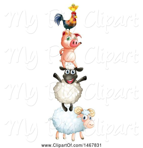 Swine Clipart of Tower of Farm Animals