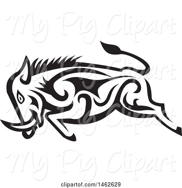 Swine Clipart of Tribal Boar Charging in Black and White
