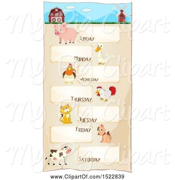 Swine Clipart of Week Timetable Chart with Farm Animals