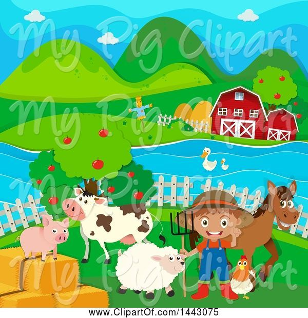 Swine Clipart of White Boy Farmer with Livestock