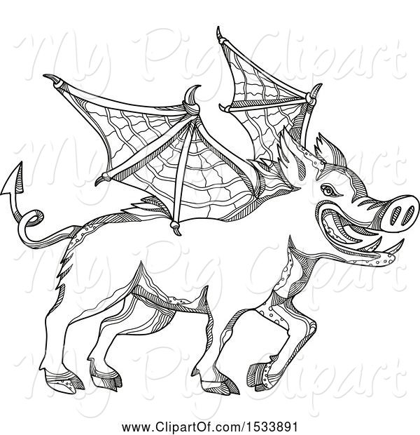 Swine Clipart of Winged Boar Pig, in Black and White Zentangle Design