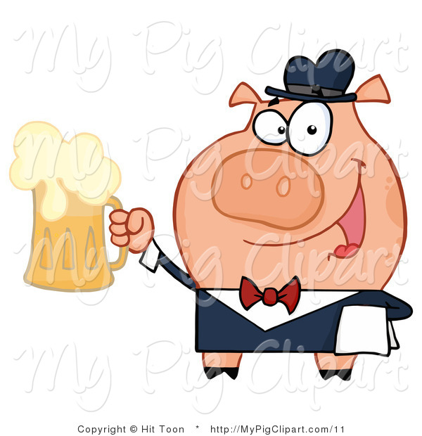 Vector Swine Clipart of a Bar Tender Pig