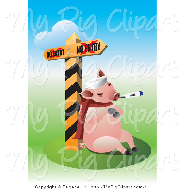 Vector Swine Clipart of a Flu Sick Pig by a Quarantine Sign
