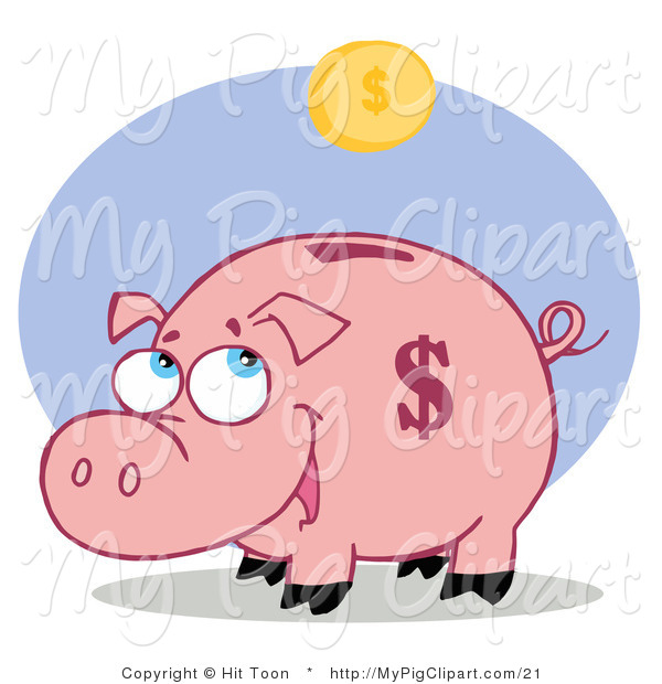 Vector Swine Clipart of a Happy Piggy Bank Waiting for a Coin Fall into His Slot