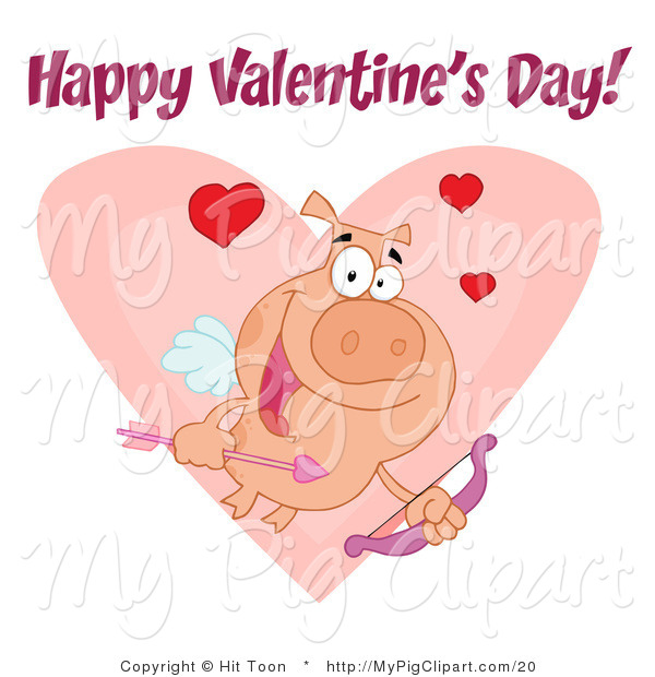Vector Swine Clipart of a Happy Valentine's Day Text over a Cupid Pig with Hearts over a Pink Heart