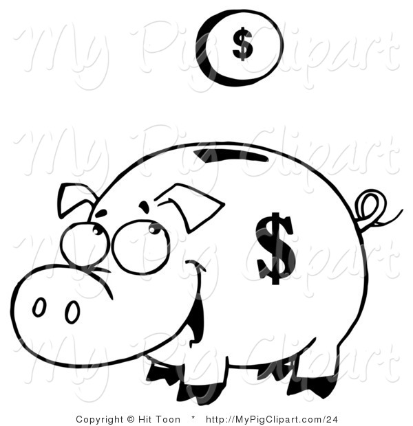Vector Swine Clipart of a Outlined Coin Falling into a Piggy Bank