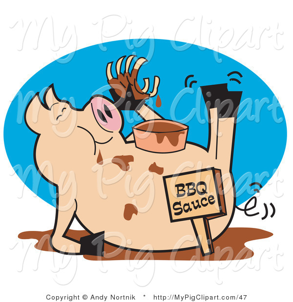 Vector Swine Clipart of a Pig Eating Ribs in a Mud Puddle