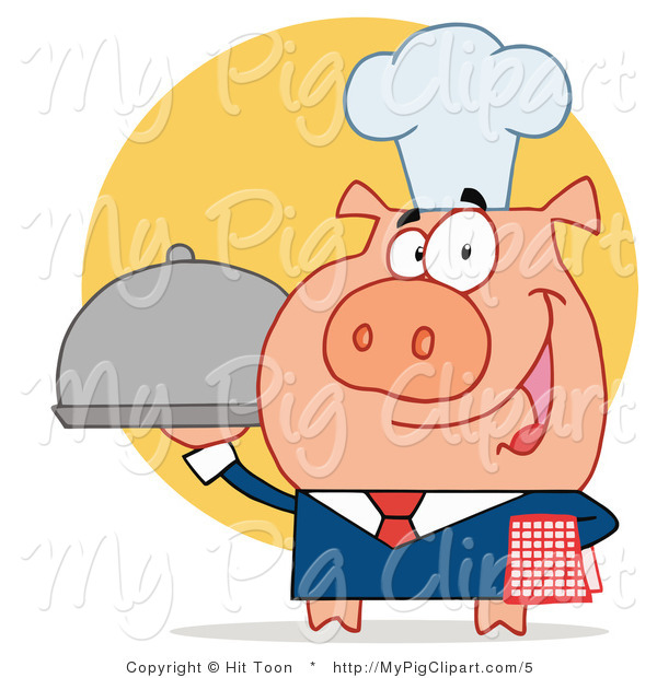 Vector Swine Clipart of a Server Pig with a Food Platter
