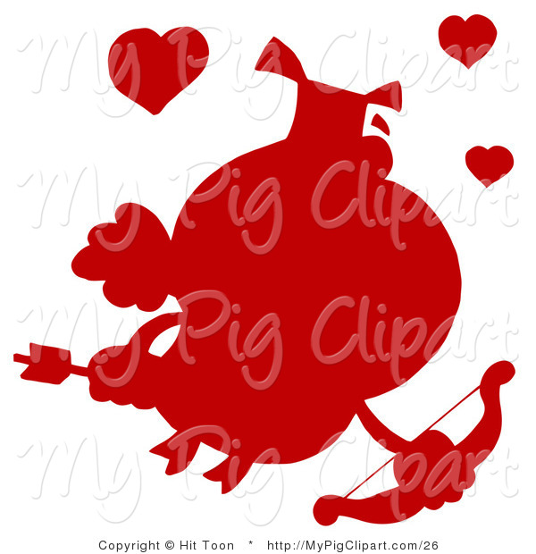 : Vector Swine Clipart of a Solid Red Silhouette of a Pig Cupid with Hearts